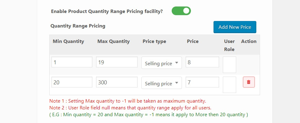 Product quantity range pricing